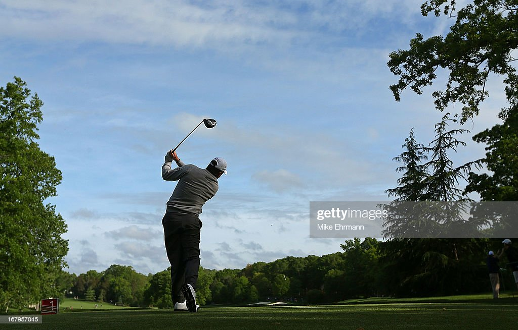 Lee Westwood of England hits his tee shot on the 15th hole during the second round of the Wells Fargo Championship at Quail Hollow Club on May 3, 2013 in Charlotte, North Carolina.