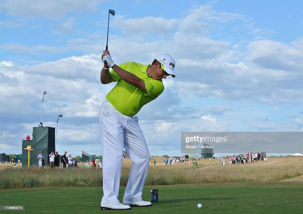 Lee Westwood of England hits his tee shot on the 16th hole during the first round of the 142nd Open Championship at Muirfield on July 18, 2013 in Gullane, Scotland.