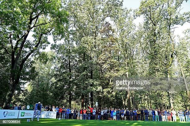 Lee Westwood of England hits his tee shot on the 2nd hole during the second round of the Italian Open at Golf Club Milano Parco Reale di Monza on...