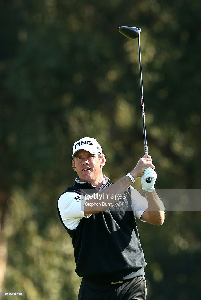 Lee Westwood of England hits his tee shot on the second hole during the final round of the Northern Trust Open at Riviera Country Club on February 17, 2013 in Pacific Palisades, California.
