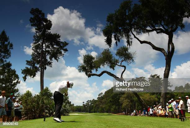Lee Westwood of England hits his tee shot on the sixth hole during the second round of THE PLAYERS Championship held at THE PLAYERS Stadium course at...