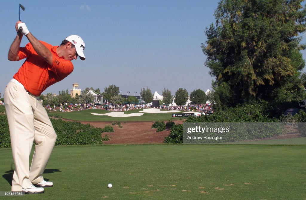 Lee Westwood of England hits his teeshot on the 13th hole during the second round of the Dubai World Championship on the Earth Course Jumeirah Golf...