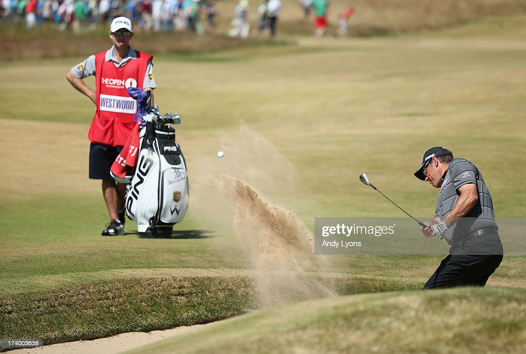 Lee Westwood of England hits his third shot on the 18th during the second round of the 142nd Open Championship at Muirfield on July 19, 2013 in Gullane, Scotland.
