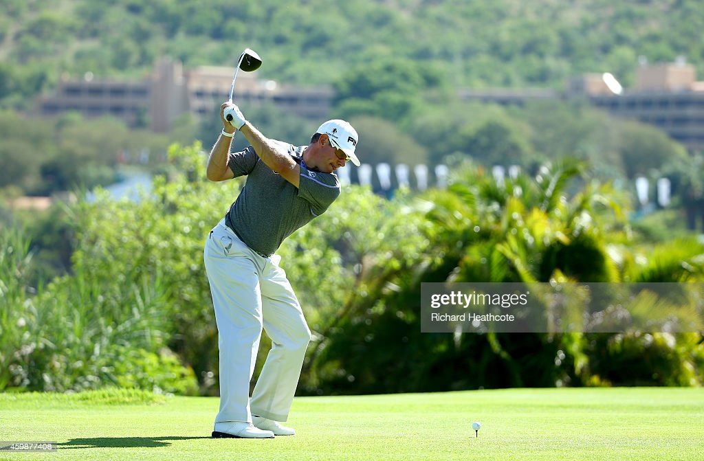 Lee Westwood of England in action during a practise round for the Nedbank Golf Challenge at the Gary Player Country Club on December 3 2014 in Sun...