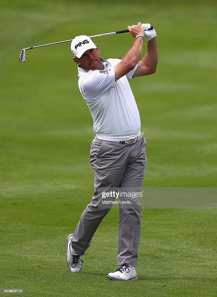 Lee Westwood of England in action during a pro-am round ahead of the 100th Open de France at Le Golf National on June 29, 2016 in Paris, France.