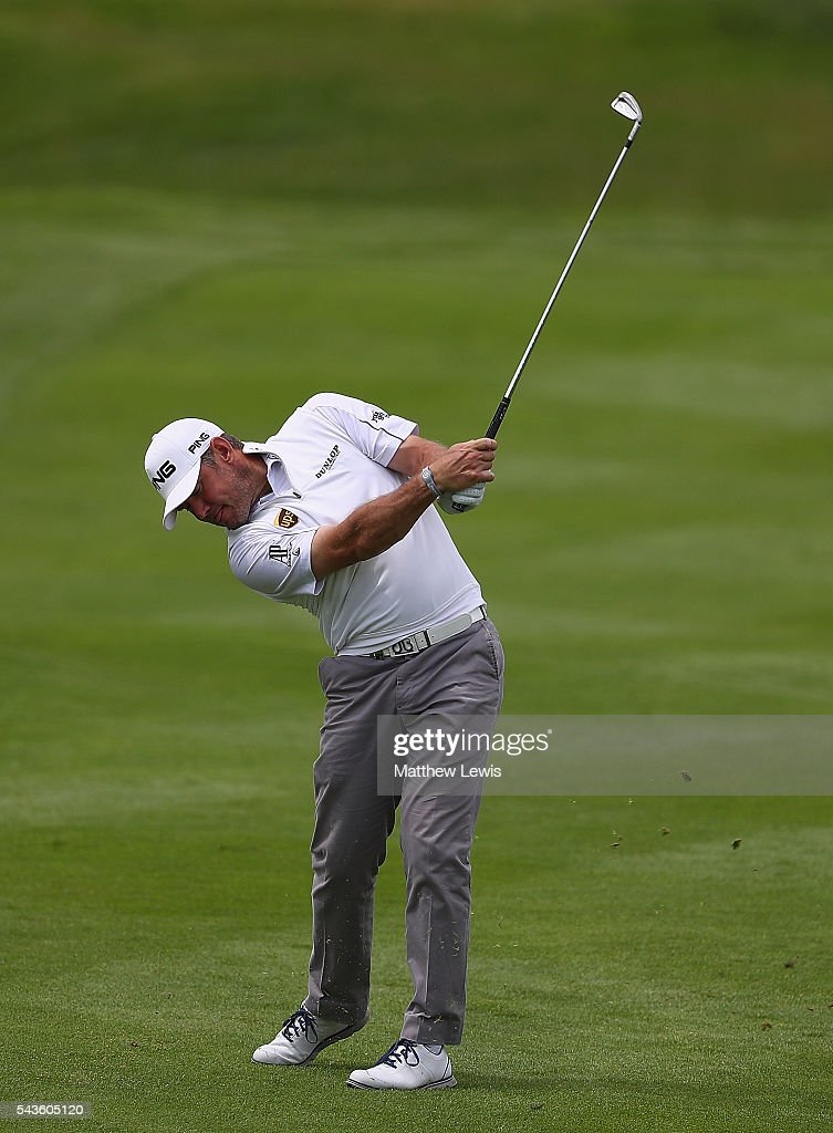 <a gi-track='captionPersonalityLinkClicked' href=/galleries/search?phrase=Lee+Westwood&family=editorial&specificpeople=171611 ng-click='$event.stopPropagation()'>Lee Westwood</a> of England in action during a pro-am round ahead of the 100th Open de France at Le Golf National on June 29, 2016 in Paris, France.