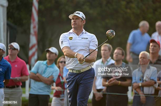 Lee Westwood of England in action during day one of the 2014 CIMB Classic at Kuala Lumpur Golf Country Club on October 30 2014 in Kuala Lumpur...