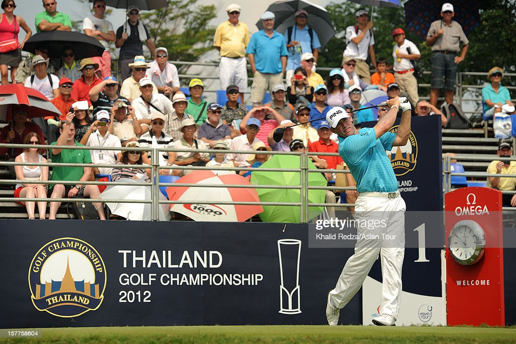 Lee Westwood of England in action during round one of the Thailand Golf Championship at Amata Spring Country Club on December 6, 2012 in Bangkok, Thailand.