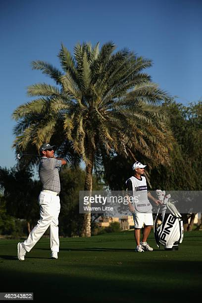 Lee Westwood of England in action during the Challenge Match ahead of the Omega Dubai Desert Classic on the Majlis Course at the Emirates Golf Club...