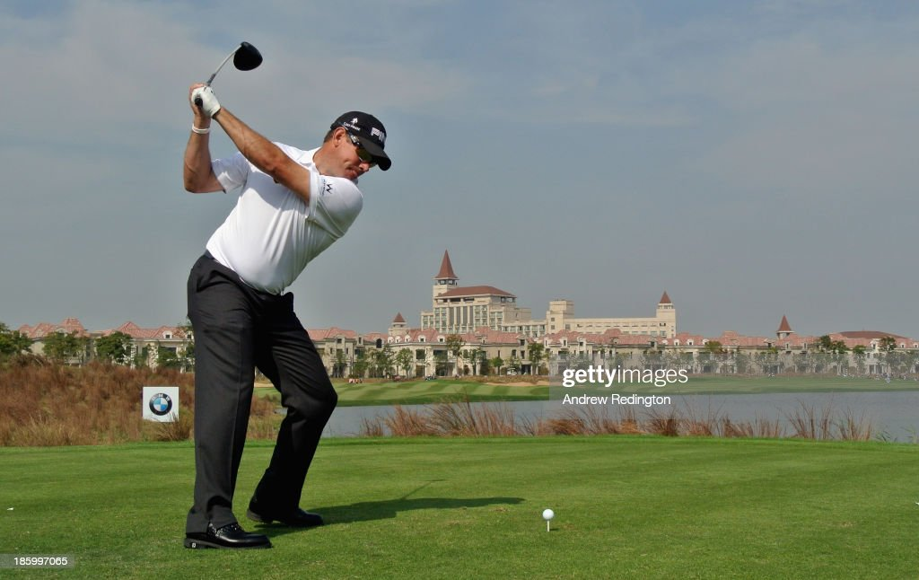 Lee Westwood of England in action during the final round of the BMW Masters at Lake Malaren Golf Club on October 27, 2013 in Shanghai, China.