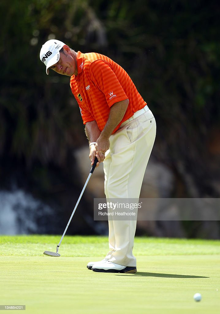 Lee Westwood of England in action during the final round of the Nedbank Golf Challenge at the Gary Player Country Club on December 4, 2011 in Sun City, South Africa.