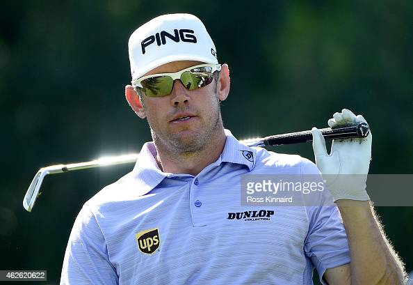 Lee Westwood of England in action during the final round of the Omega Dubai Desert Classic at the Emirates Golf Club on February 1 2015 in Dubai...