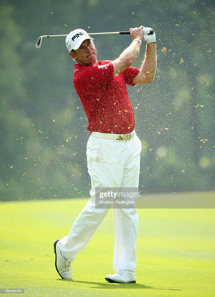 Lee Westwood of England in action during the final round of the WGC HSBC Champions at the Mission Hills Resort on November 4, 2012 in Shenzhen, China.