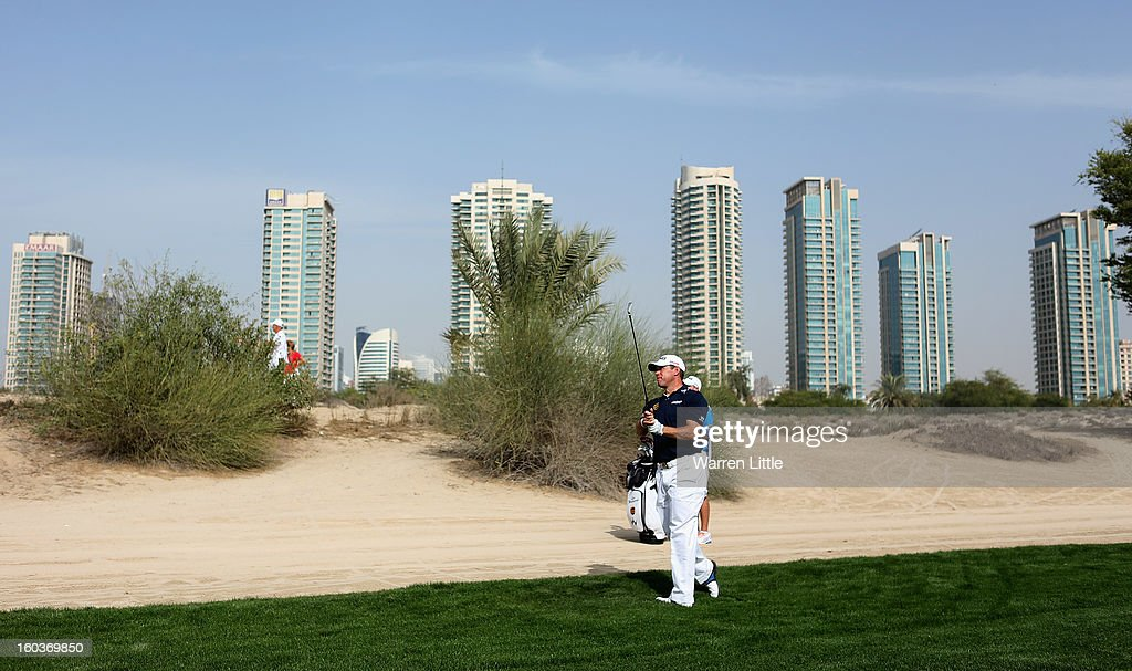 <a gi-track='captionPersonalityLinkClicked' href=/galleries/search?phrase=Lee+Westwood&family=editorial&specificpeople=171611 ng-click='$event.stopPropagation()'>Lee Westwood</a> of England in action during the pro-am of the Omega Dubai Desert Classic at Emirates Golf Club on January 30, 2013 in Dubai, United Arab Emirates.