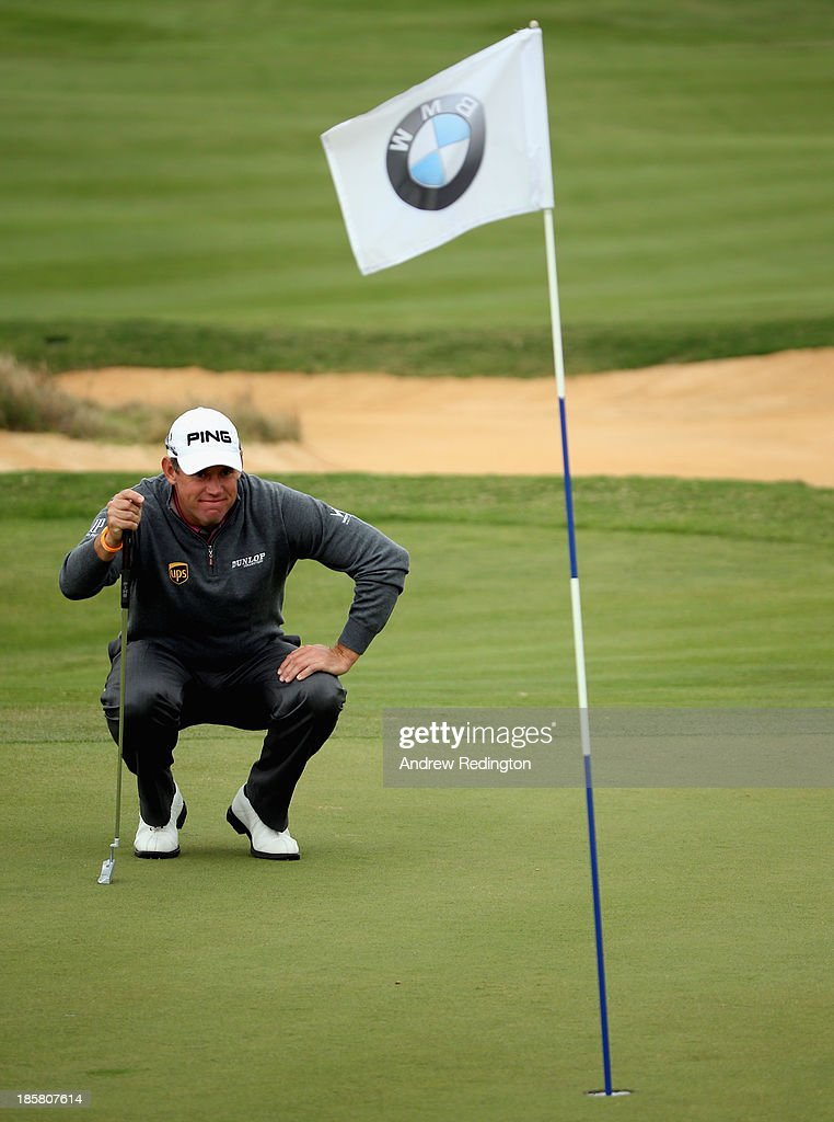Lee Westwood of England in action during the second round of the BMW Masters at Lake Malaren Golf Club on October 25, 2013 in Shanghai, China.