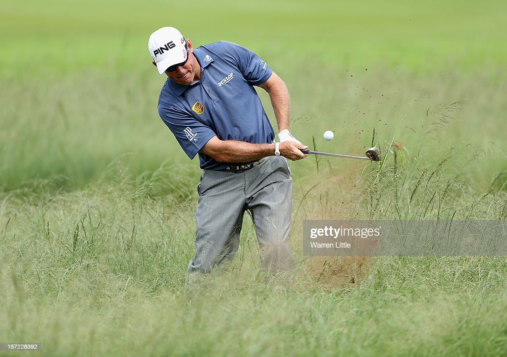 Lee Westwood of England in action during the second round of the Nedbank Golf Challenge at the Gary Player Country Club on November 30, 2012 in Sun City, South Africa.