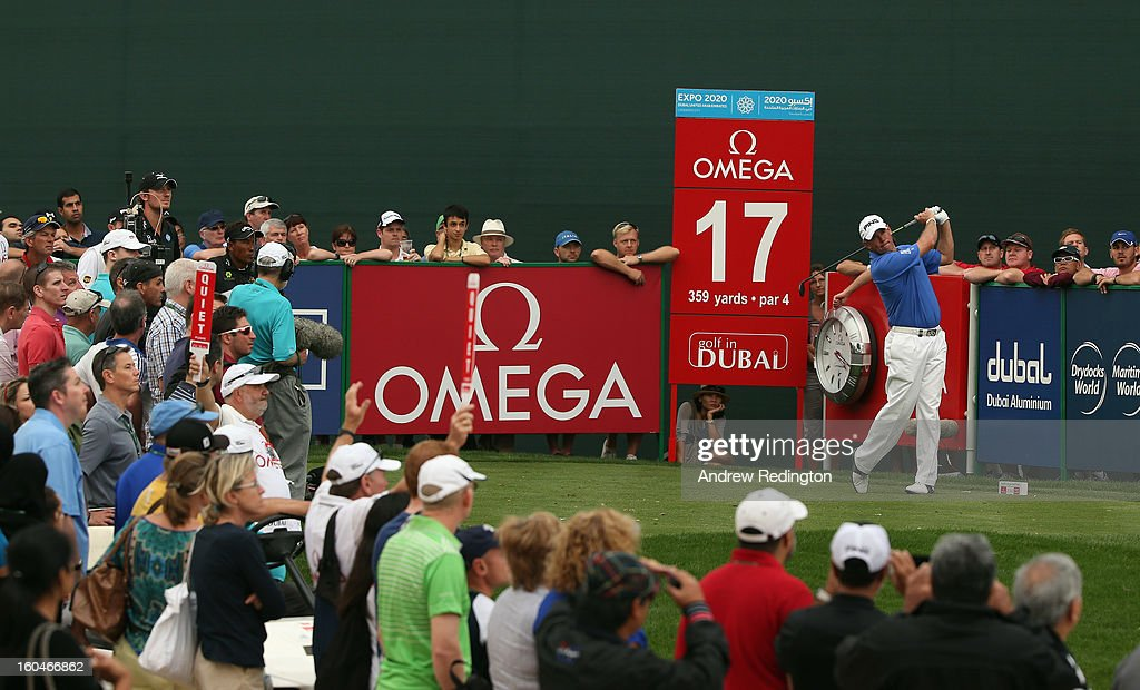 Lee Westwood of England in action during the second round of the Omega Dubai Desert Classic at Emirates Golf Club on February 1, 2013 in Dubai, United Arab Emirates.