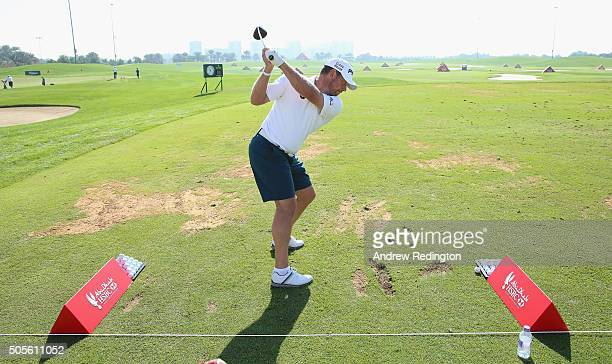 Lee Westwood of England is pictured wearing shorts during practice prior to the start of the Abu Dhabi HSBC Golf Championship at the Abu Dhabi Golf...
