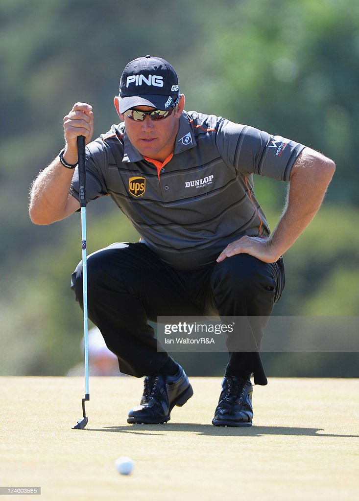Lee Westwood of England lines up a putt on the 15th green during the second round of the 142nd Open Championship at Muirfield on July 19, 2013 in Gullane, Scotland.