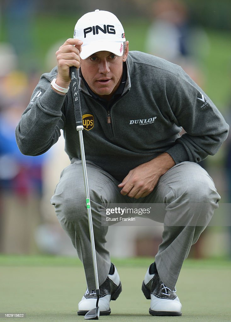 Lee Westwood of England lines up a putt on the eighth hole during the second round of the Honda Classic on March 1, 2013 in Palm Beach Gardens, Florida.