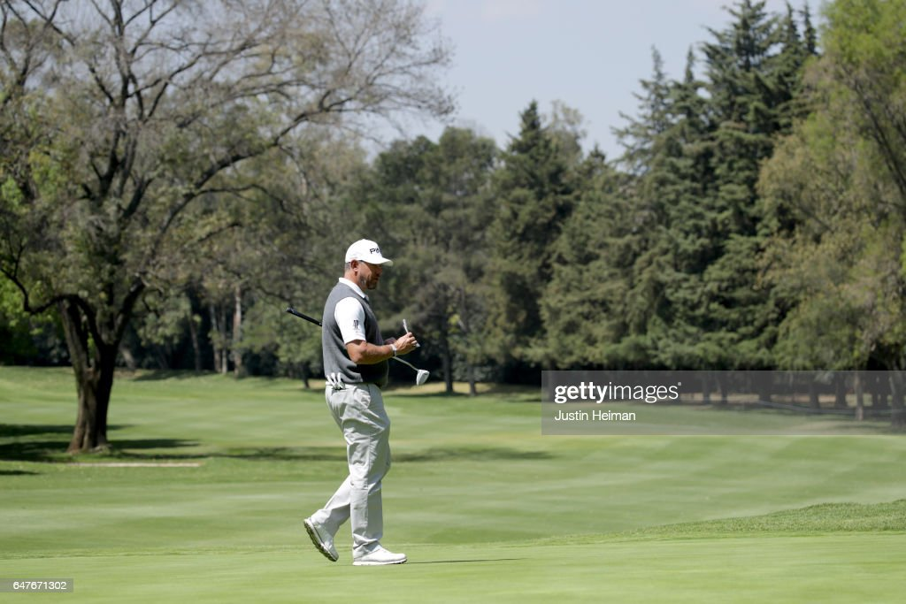 Lee Westwood of England lines up a putt on the second hole during the second round of the World Golf Championships Mexico Championship at Club De Golf Chapultepec on March 3, 2017 in Mexico City, Mexico.