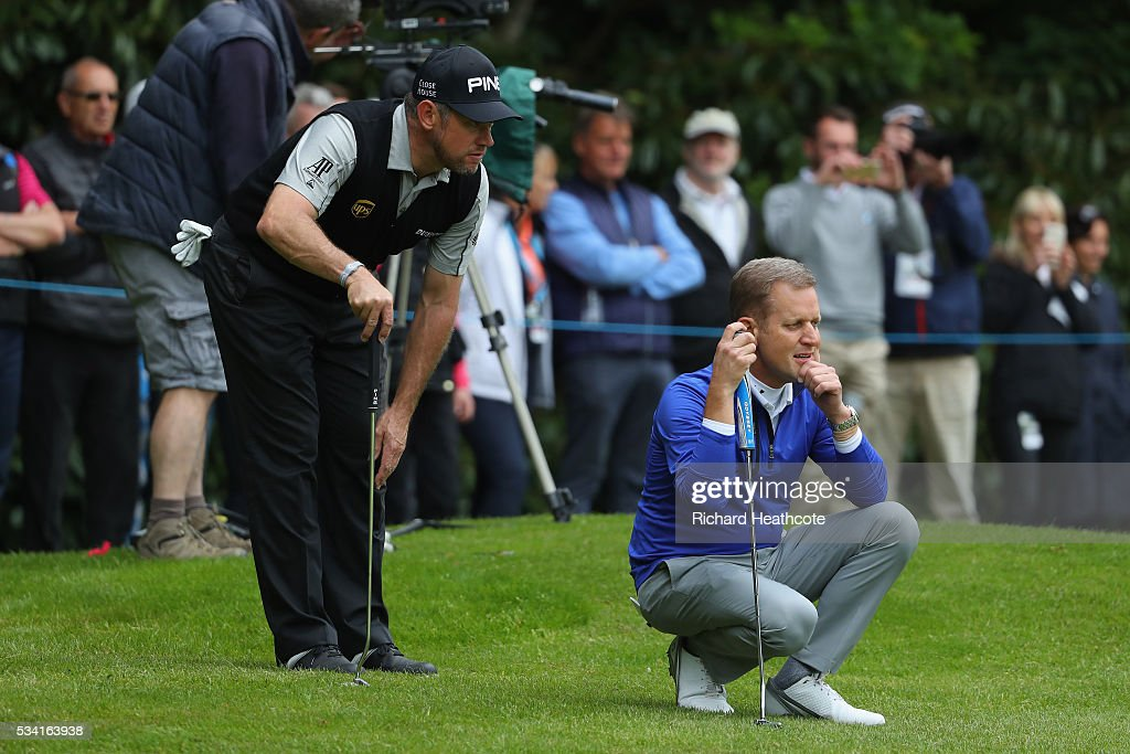 <a gi-track='captionPersonalityLinkClicked' href=/galleries/search?phrase=Lee+Westwood&family=editorial&specificpeople=171611 ng-click='$event.stopPropagation()'>Lee Westwood</a> of England lines up with <a gi-track='captionPersonalityLinkClicked' href=/galleries/search?phrase=Jeremy+Kyle&family=editorial&specificpeople=680413 ng-click='$event.stopPropagation()'>Jeremy Kyle</a> during the Pro-Am prior to the BMW PGA Championship at Wentworth on May 25, 2016 in Virginia Water, England.