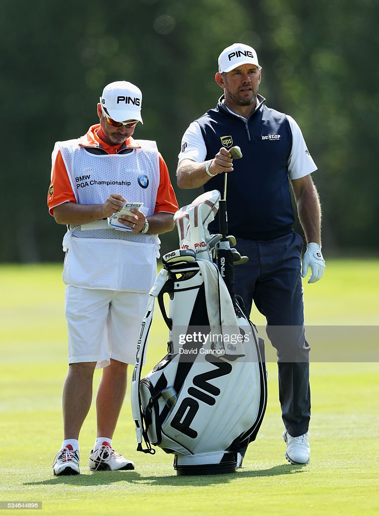 <a gi-track='captionPersonalityLinkClicked' href=/galleries/search?phrase=Lee+Westwood&family=editorial&specificpeople=171611 ng-click='$event.stopPropagation()'>Lee Westwood</a> of England looks down the 9th hole with caddie <a gi-track='captionPersonalityLinkClicked' href=/galleries/search?phrase=Billy+Foster+-+Caddy+de+golf&family=editorial&specificpeople=12673088 ng-click='$event.stopPropagation()'>Billy Foster</a> during day two of the BMW PGA Championship at Wentworth on May 27, 2016 in Virginia Water, England.