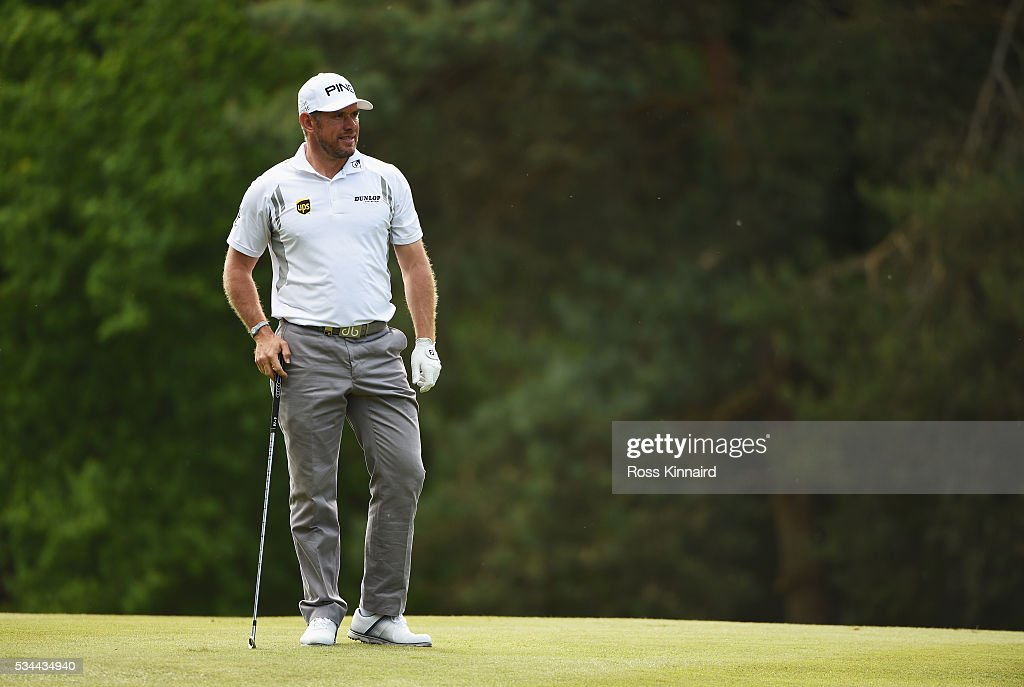 Lee Westwood of England looks odown the 13th hole during day one of the BMW PGA Championship at Wentworth on May 26, 2016 in Virginia Water, England.