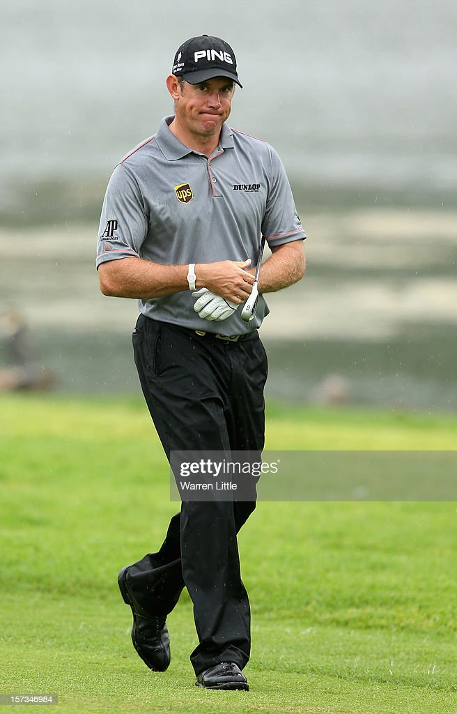 Lee Westwood of England looks on during the final round of the Nedbank Golf Challenge at the Gary Player Country Club on December 2, 2012 in Sun City, South Africa.