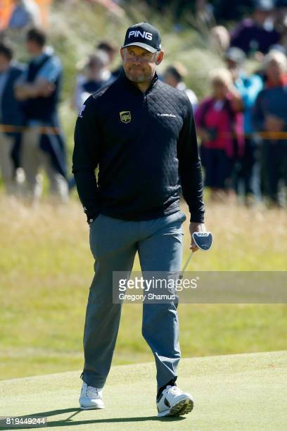 Lee Westwood of England looks on during the first round of the 146th Open Championship at Royal Birkdale on July 20 2017 in Southport England
