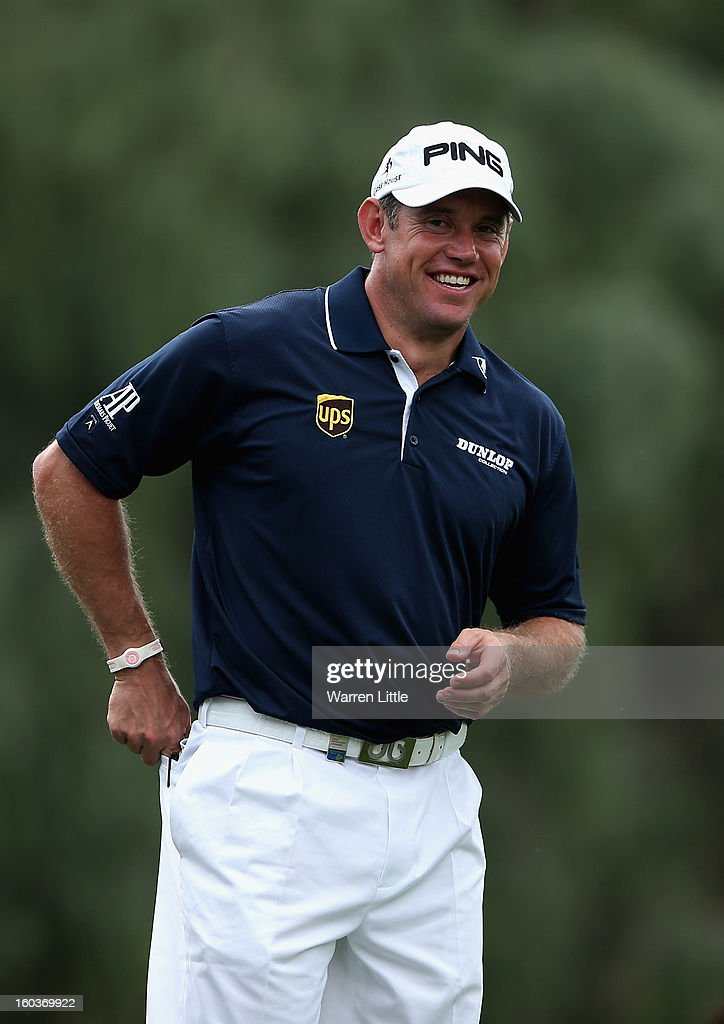 Lee Westwood of England looks on during the pro-am of the Omega Dubai Desert Classic at Emirates Golf Club on January 30, 2013 in Dubai, United Arab Emirates.