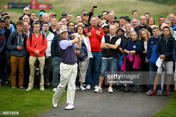 Lee Westwood of England plays from a path on the 2nd during the second round of the ISPS Handa Wales Open at Celtic Manor Resort on September 19 2014...