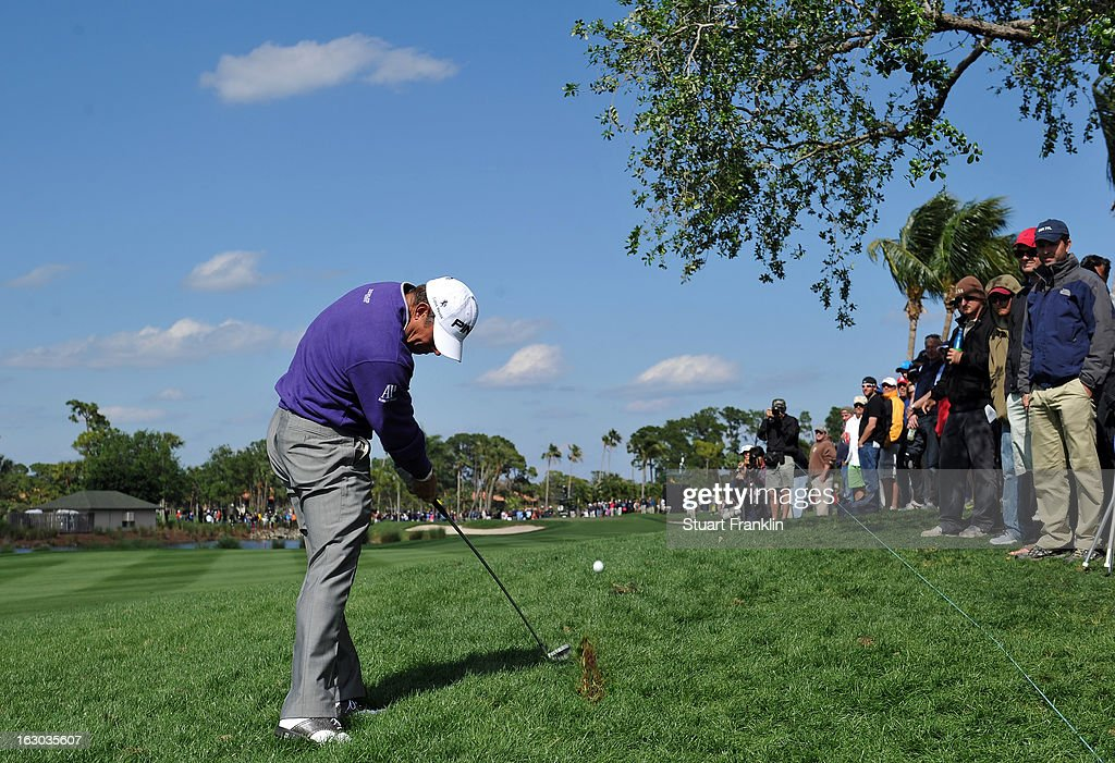 Lee Westwood of England plays his approach shot on the sixth hole during the final round of the Honda Classic on March 3, 2013 in Palm Beach Gardens, Florida.