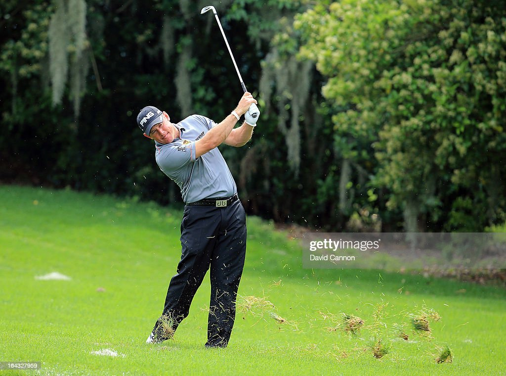 Lee Westwood of England plays his second shot at the par 4, 1st hole during the second round of the 2013 Arnold Palmer Invitational Presented by Mastercard at Bay Hill Golf and Country Club on March 22, 2013 in Orlando, Florida.