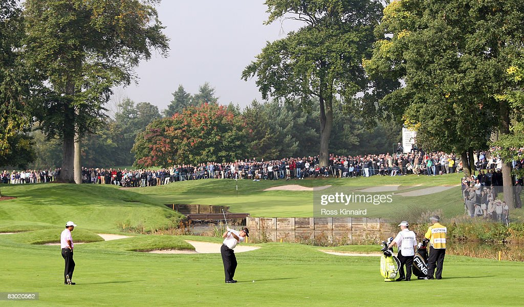 Lee Westwood of England plays his second shot to the par four 10th hole during the second round the Quinn Insurance British Masters at the Belfry on...