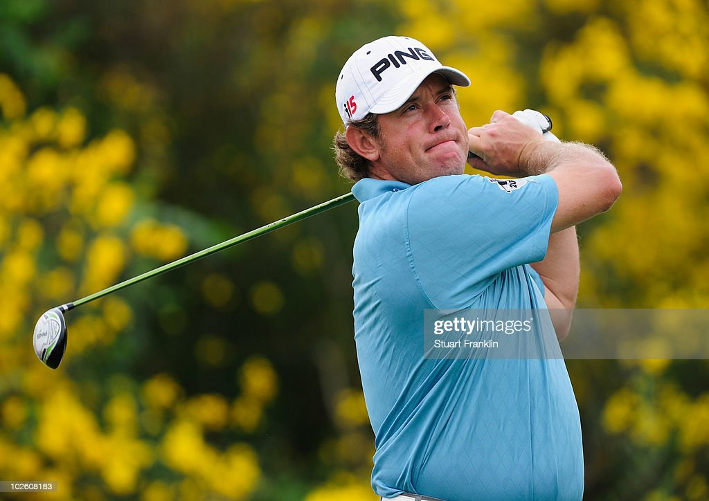 Lee Westwood of England plays his tee shot on the seventh hole during the third round of the Open de France ALSTOM at the Le Golf National Golf Club...