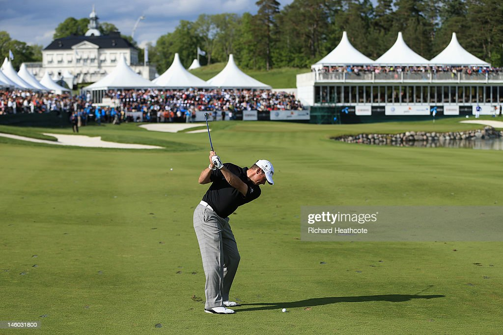 Lee Westwood of England plays into the 18th green during the final round of the Nordea Scandinavian Masters at Bro Hof Slott Golf Club on June 9 2012...