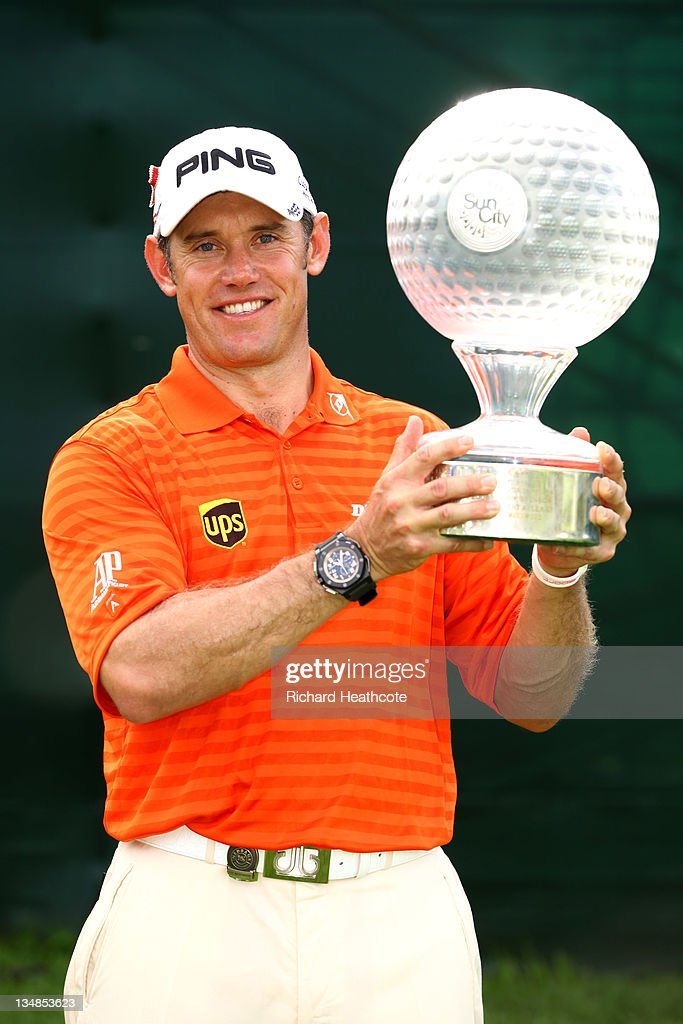 <a gi-track='captionPersonalityLinkClicked' href=/galleries/search?phrase=Lee+Westwood&family=editorial&specificpeople=171611 ng-click='$event.stopPropagation()'>Lee Westwood</a> of England poses with the trophy after victory in the final round of the Nedbank Golf Challenge at the Gary Player Country Club on December 4, 2011 in Sun City, South Africa.