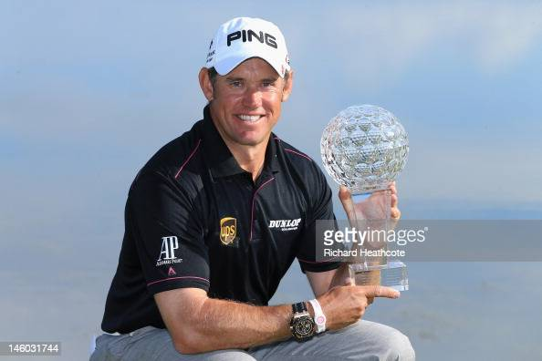 Lee Westwood of England poses with the trophy after victory in the final round of the Nordea Scandinavian Masters at Bro Hof Slott Golf Club on June...