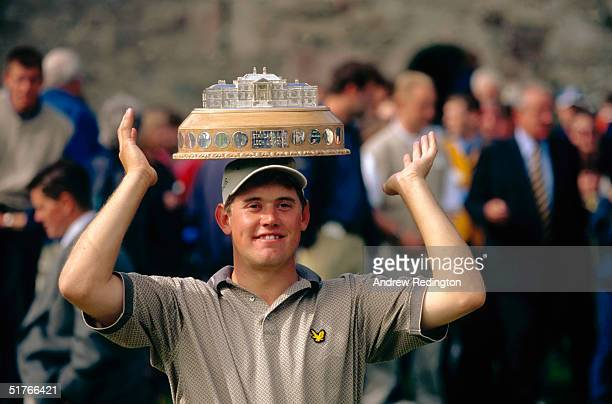 Lee Westwood of England poses with the trophy after winning the Standard Life Loch Lomond World Invitational at Loch Lomond Golf Club near Glasgow...