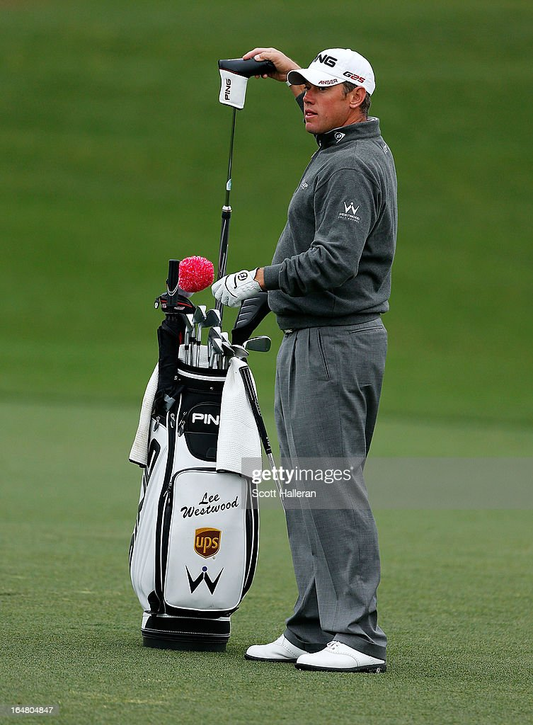 Lee Westwood of England pulls a club on the first hole during the first round of the Shell Houston Open at the Redstone Golf Club on March 28, 2013 in Humble, Texas.