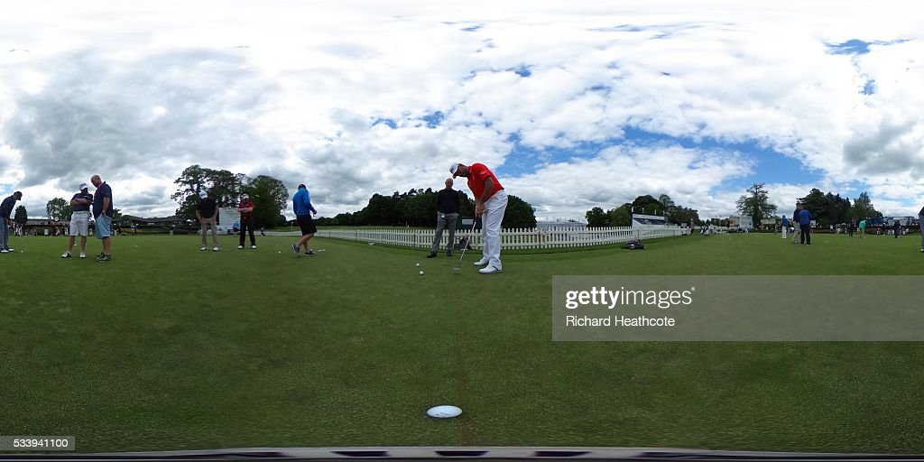 Lee Westwood of England puts during a practice round for the BMW PGA Championship at Wentworth on May 24, 2016 in Virginia Water, England.