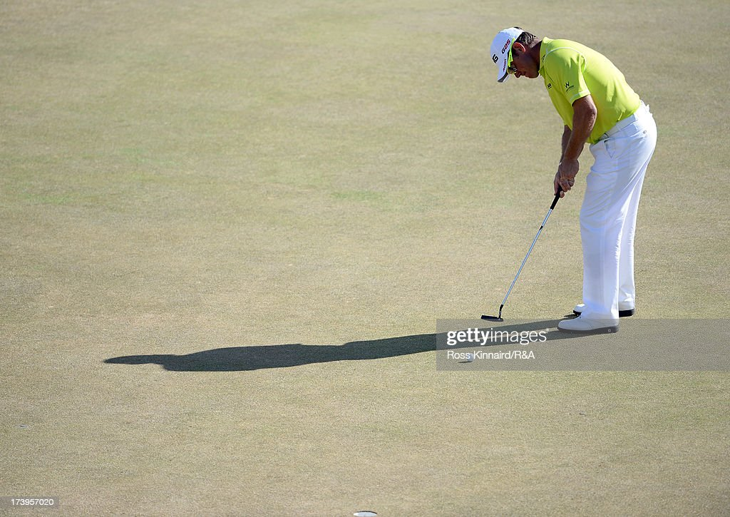 Lee Westwood of England putts on the 13th green during the first round of the 142nd Open Championship at Muirfield on July 18, 2013 in Gullane, Scotland.