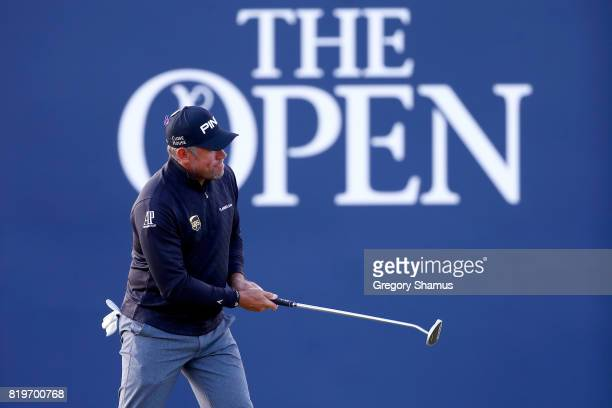 Lee Westwood of England putts on the 18th green during the first round of the 146th Open Championship at Royal Birkdale on July 20 2017 in Southport...