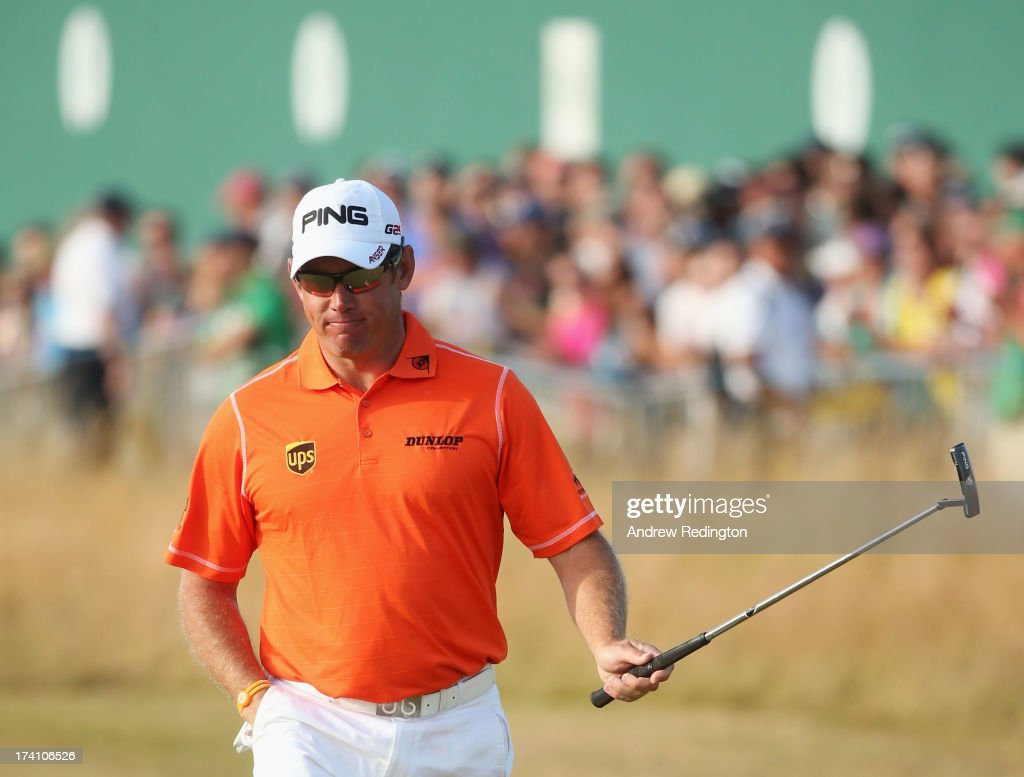 <a gi-track='captionPersonalityLinkClicked' href=/galleries/search?phrase=Lee+Westwood&family=editorial&specificpeople=171611 ng-click='$event.stopPropagation()'>Lee Westwood</a> of England reacts after finishing his third round of the 142nd Open Championship at Muirfield on July 20, 2013 in Gullane, Scotland.