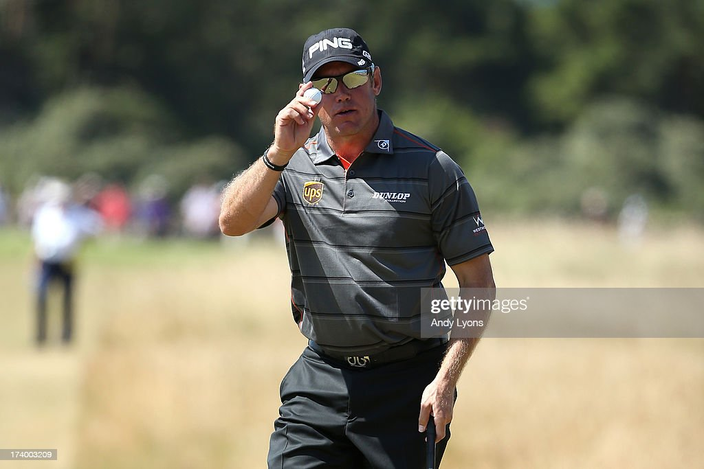 Lee Westwood of England reacts after making a par putt on the 16th during the second round of the 142nd Open Championship at Muirfield on July 19, 2013 in Gullane, Scotland.