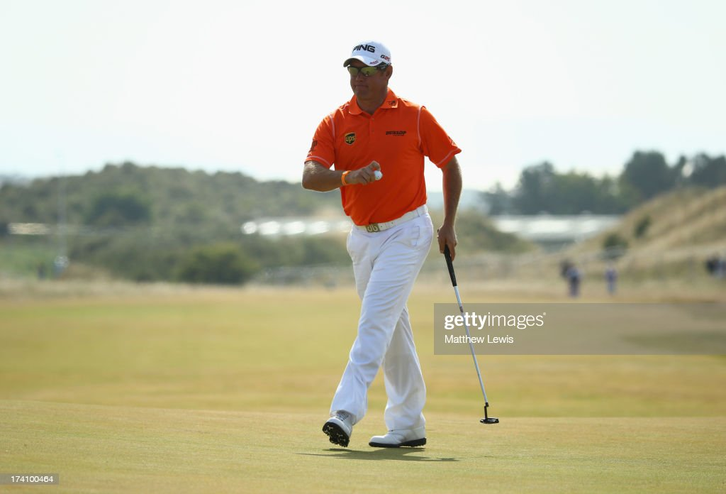 <a gi-track='captionPersonalityLinkClicked' href=/galleries/search?phrase=Lee+Westwood&family=editorial&specificpeople=171611 ng-click='$event.stopPropagation()'>Lee Westwood</a> of England reacts after making an eagle putt on the 5th hole during the third round of the 142nd Open Championship at Muirfield on July 20, 2013 in Gullane, Scotland.