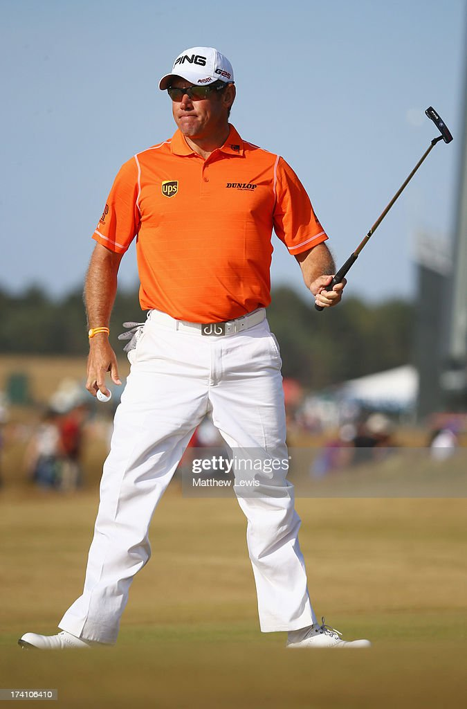 <a gi-track='captionPersonalityLinkClicked' href=/galleries/search?phrase=Lee+Westwood&family=editorial&specificpeople=171611 ng-click='$event.stopPropagation()'>Lee Westwood</a> of England reacts on the 15th green during the third round of the 142nd Open Championship at Muirfield on July 20, 2013 in Gullane, Scotland.