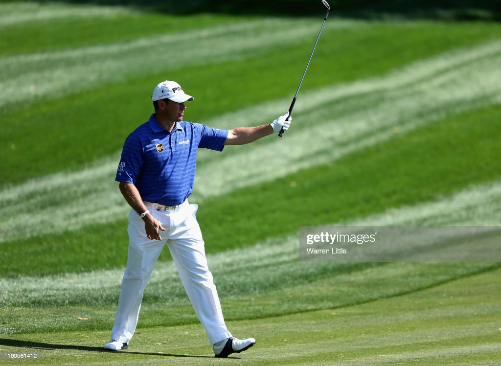 Lee Westwood of England reacts to a birdie on the seventh green during the final round of the Omega Dubai Desert Classic at Emirates Golf Club on February 3, 2013 in Dubai, United Arab Emirates.