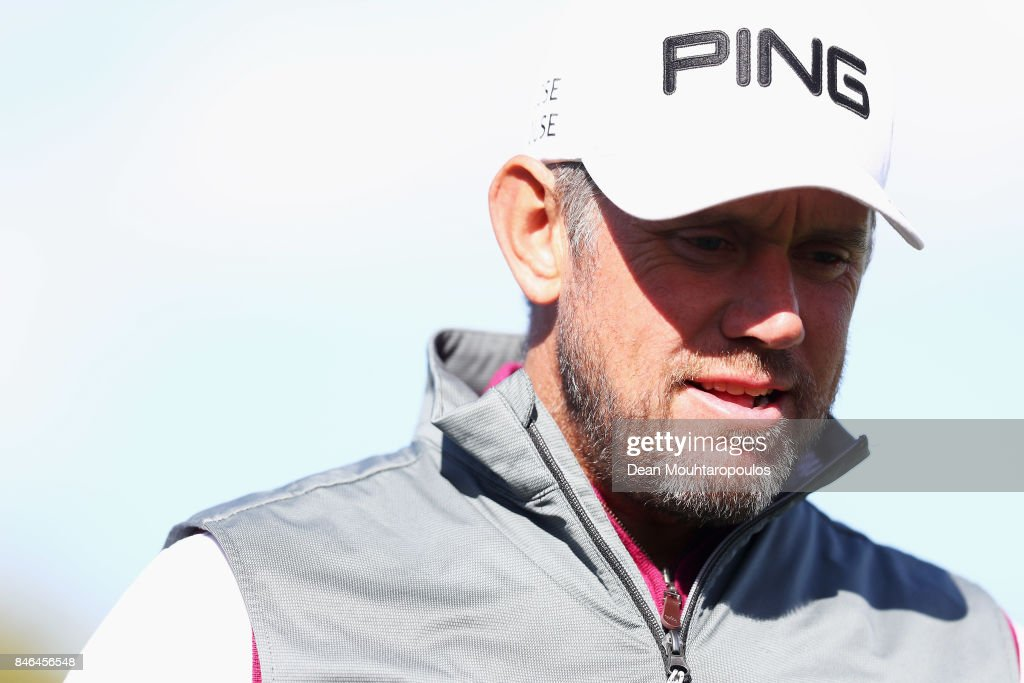 Lee Westwood of England speaks to the media during the European Tour KLM Open ProAM held at The Dutch on September 13, 2017 in Spijk, Netherlands.